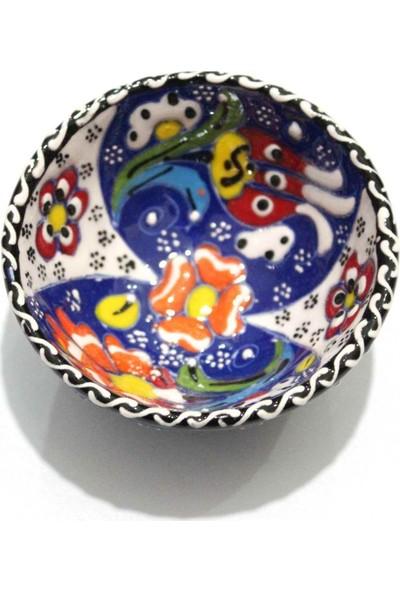 İlbay 8 cm Kütahya Otantik Çini Kase - Lacivert