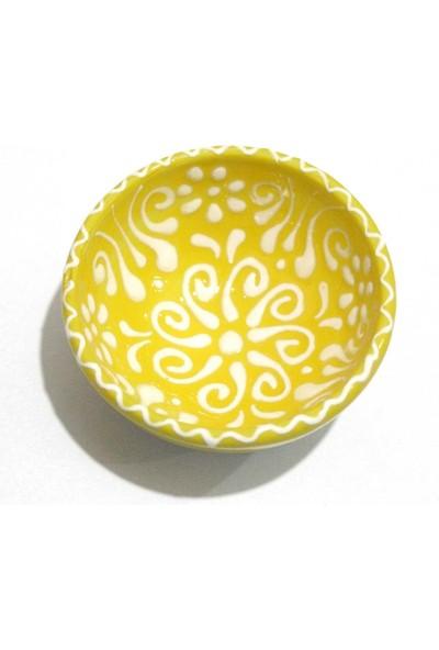İlbay 8 cm Dantel Beyaz Çini Kase - Sarı