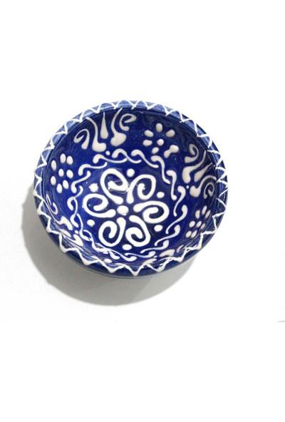 İlbay 8 cm Dantel Beyaz Çini Kase - Lacivert