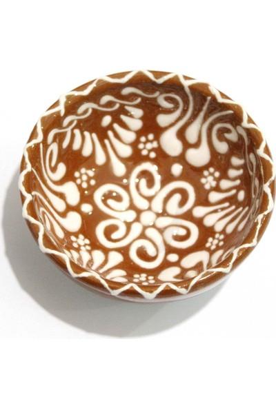 İlbay 8 cm Dantel Beyaz Çini Kase - Kahverengi