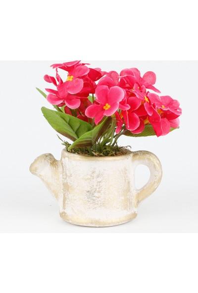 Bappay Porselen Görünümlü Saksıda Menekşe Çiçeği Yapay Çiçek