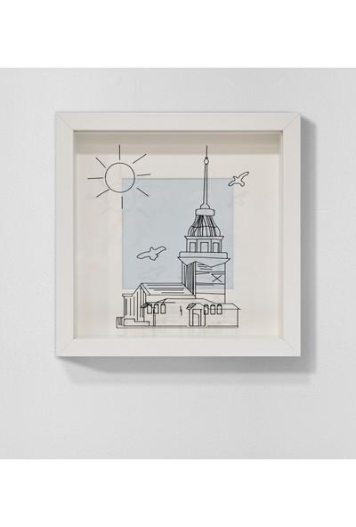 Saydam Kız Kulesi Resimli Derinlikli Çerçeve Minimal Modern Tablo