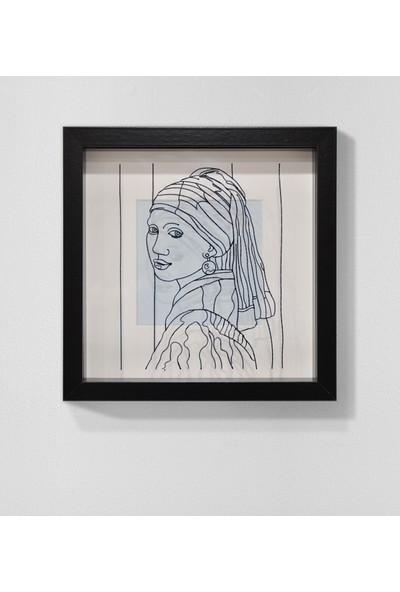 Saydam İnci Küpeli Kız Resimli Derinlikli Çerçeve Minimal Resim Modern Tablo
