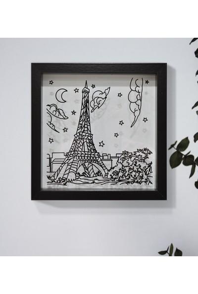 Saydam Paris Eyfel Kulesi Derinlikli Çerçeve Minimal Modern Resimli Tablo
