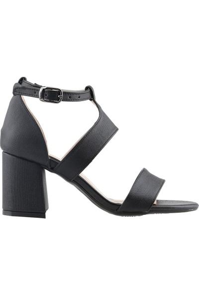 Ayakland 11005-249 Günlük 7 cm Topuk Kadın Çupra Sandalet Ayakkabı Siyah