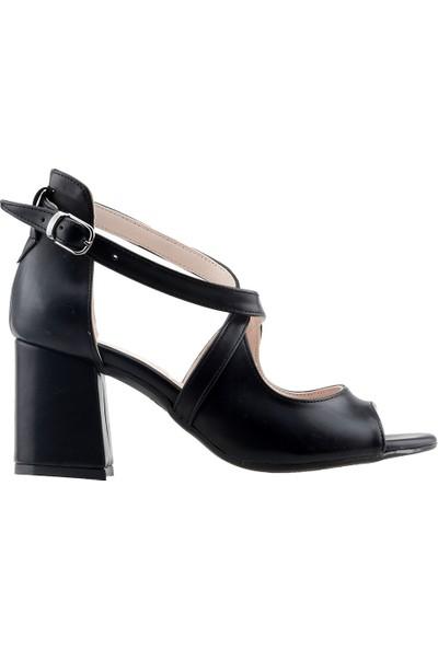 Ayakland 11005-262 Günlük 7 cm Topuk Kadın Cilt Sandalet Siyah