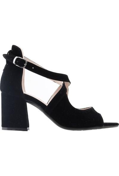 Ayakland 11005-262 Günlük 7 cm Topuk Kadın Süet Sandalet Ayakkabı Siyah