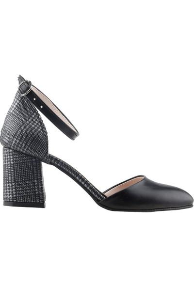 Ayakland 111012-347 Günlük 5 cm Topuk Kadın Ekose Sandalet Ayakkabı Siyah