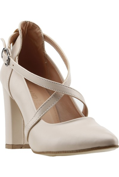 Ayakland 137029-1122 Kemerli 7 cm Topuk Kadın Cilt Sandalet Ayakkabı Ten
