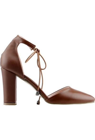 Ayakland 137029-1160 Günlük 9 cm Topuk Kadın Cilt Sandalet Ayakkabı Taba
