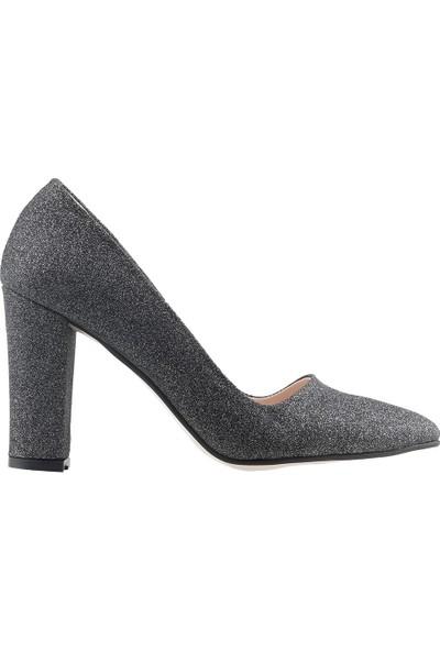 Ayakland 137029-311 Günlük 8 cm Topuk Kadın Simli Klasik Ayakkabı Platin