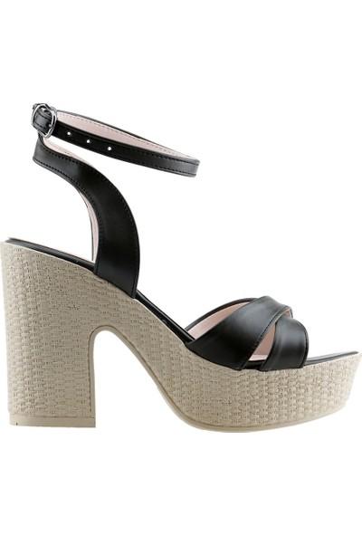 Ayakland 15136-1184 Günlük 10 cm Topuk Kadın Cilt Sandalet Ayakkabı Yeşil