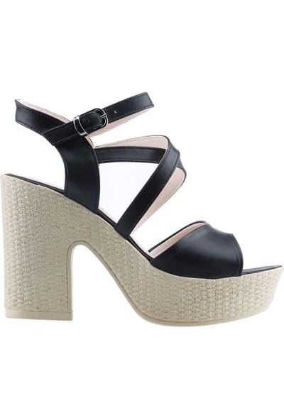 Ayakland 15136-1185 Günlük 10 cm Topuk Kadın Cilt Sandalet Ayakkabı Siyah
