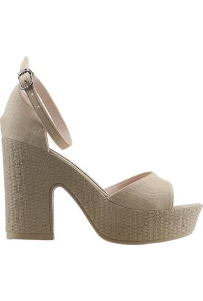 Ayakland 15136-1188 Günlük 10 cm Topuk Kadın Kot Sandalet Ayakkabı Ten