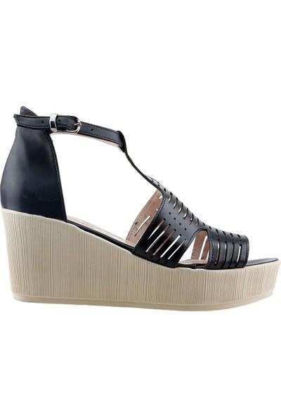 Ayakland 15173-1190 Günlük 7 cm Dolgu Topuk Kadın Cilt Sandalet Ayakkabı Siyah