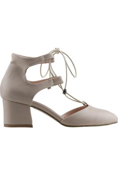 Ayakland 544-348 Günlük 5 cm Topuk Kadın Cilt Sandalet Ayakkabı Ten