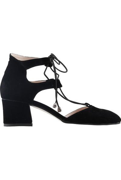 Ayakland 544-348 Günlük 5 cm Topuk Kadın Süet Sandalet Ayakkabı Siyah