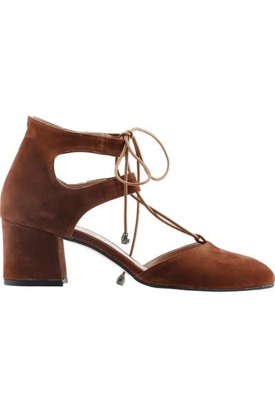 Ayakland 544-348 Günlük 5 cm Topuk Kadın Süet Sandalet Ayakkabı Taba