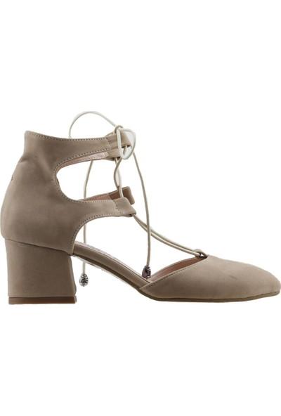Ayakland 544-348 Günlük 5 cm Topuk Kadın Süet Sandalet Ayakkabı Ten