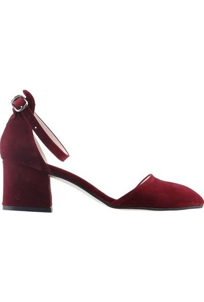Ayakland 547-346 Günlük 5 cm Topuk Süet Kadın Sandalet Ayakkabı Bordo