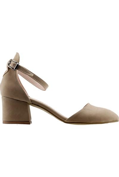 Ayakland 547-346 Günlük 5 cm Topuk Süet Kadın Sandalet Ayakkabı Ten