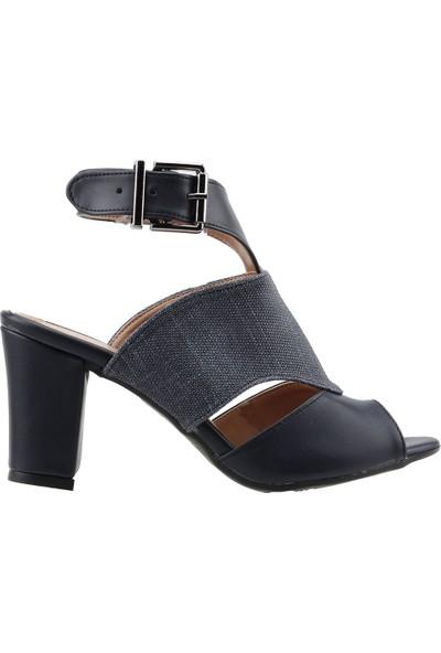 Ayakland 811-1173 Günlük 7 cm Topuk Kadın Kot Sandalet Ayakkabı Lacivert
