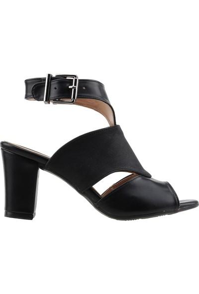 Ayakland 811-1173 Günlük 7 cm Topuk Kadın Kot Sandalet Ayakkabı Siyah