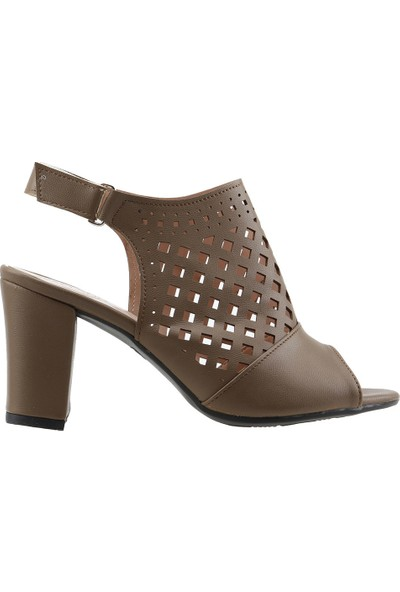 Ayakland 811-1178 Günlük 7 cm Topuk Kadın Cilt Sandalet Ayakkabı Vizon