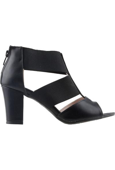 Ayakland 811-50 Günlük 7 cm Topuk Kadın Cilt Sandalet Ayakkabı Siyah