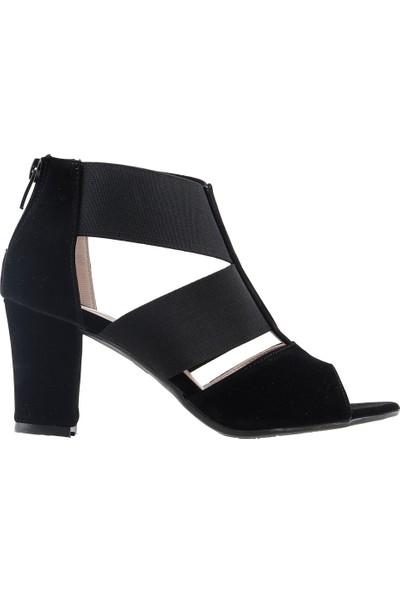 Ayakland 811-50 Günlük 7 Cm Topuk Kadın Süet Sandalet Ayakkabı Siyah