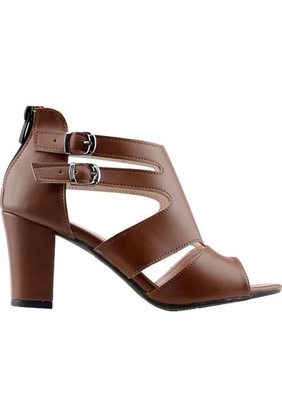 Ayakland 811-51 Günlük 7 cm Topuklu Kadın Cilt Sandalet Ayakkabı Taba