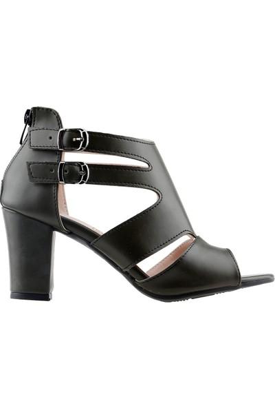 Ayakland 811-51 Günlük 7 cm Topuklu Kadın Cilt Sandalet Ayakkabı Yeşil