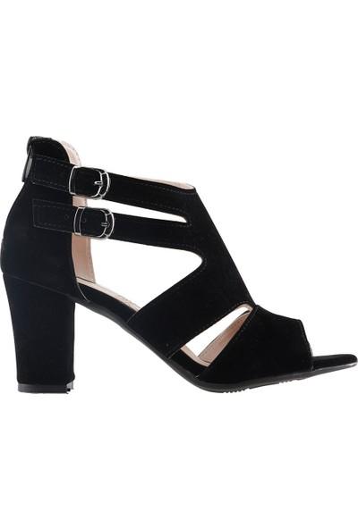 Ayakland 811-51 Günlük 7 cm Topuklu Kadın Süet Sandalet Ayakkabı Siyah