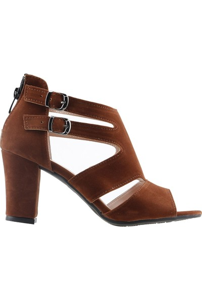 Ayakland 811-51 Günlük 7 cm Topuklu Kadın Süet Sandalet Ayakkabı Taba