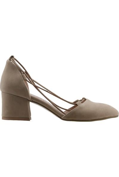 Ayakland 97544-1156 Günlük 5 cm Topuk Kadın Süet Sandalet Ayakkabı Ten
