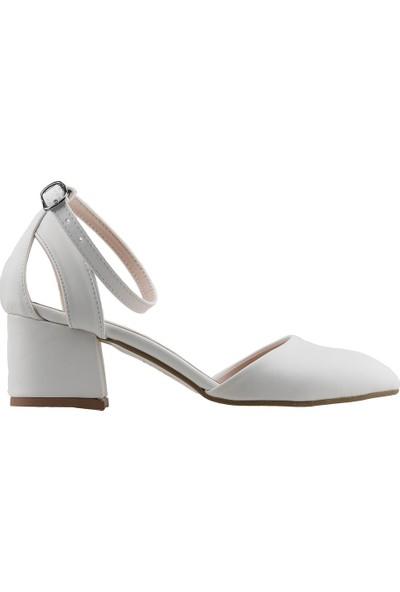 Ayakland 97544-384 Günlük 5 cm Topuk Kadın Cilt Sandalet Ayakkabı Beyaz