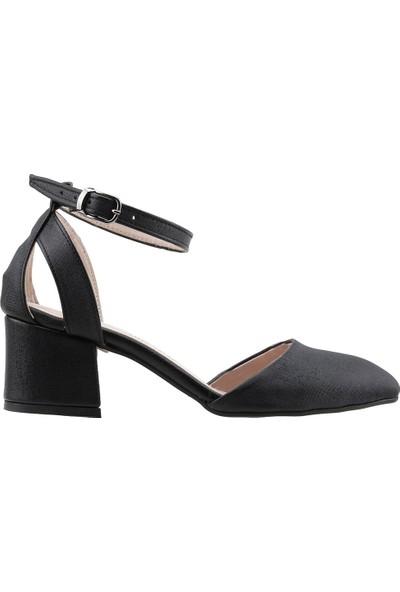 Ayakland 97544-384 Günlük 5 cm Topuk Kadın Çupra Sandalet Ayakkabı Siyah