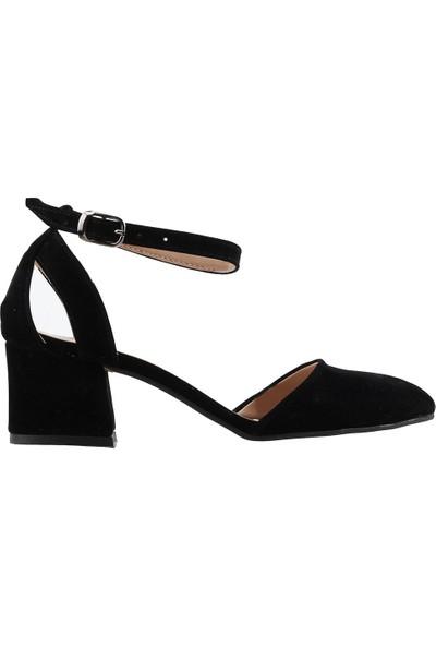 Ayakland 97544-384 Günlük 5 cm Topuk Kadın Süet Sandalet Ayakkabı Siyah