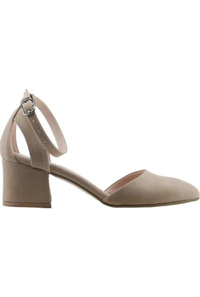 Ayakland 97544-384 Günlük 5 cm Topuk Kadın Süet Sandalet Ayakkabı Ten