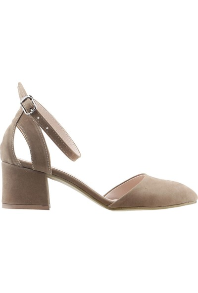 Ayakland 97544-384 Günlük 5 cm Topuk Kadın Süet Sandalet Ayakkabı Vizon