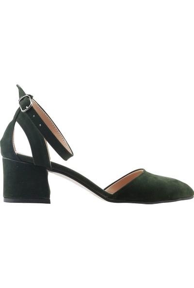 Ayakland 97544-384 Günlük 5 cm Topuk Kadın Süet Sandalet Ayakkabı Yeşil