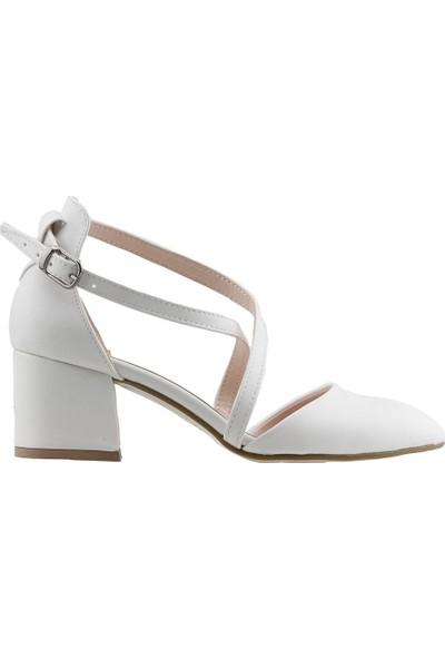 Ayakland 97544-385 Günlük 5 Cm Topuk Kadın Cilt Sandalet Ayakkabı Beyaz