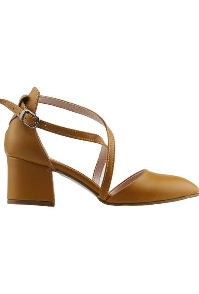 Ayakland 97544-385 Günlük 5 cm Topuk Kadın Cilt Sandalet Ayakkabı Hardal
