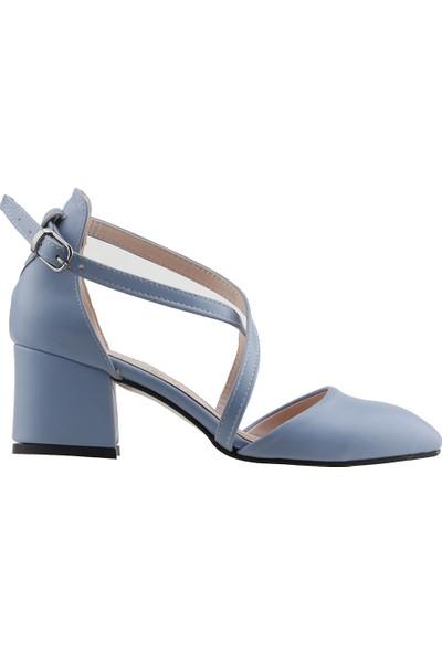 Ayakland 97544-385 Günlük 5 cm Topuk Kadın Cilt Sandalet Ayakkabı Mavi