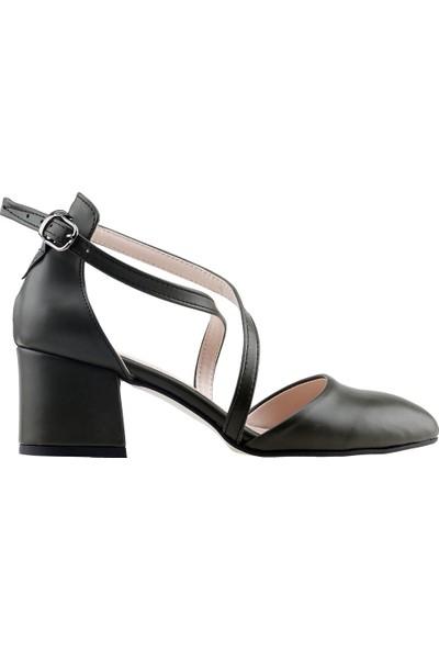 Ayakland 97544-385 Günlük 5 cm Topuk Kadın Cilt Sandalet Ayakkabı Yeşil