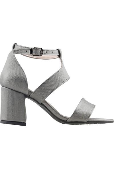 Ayakland 11005-249 Günlük 7 cm Topuk Kadın Çupra Sandalet Ayakkabı Gri