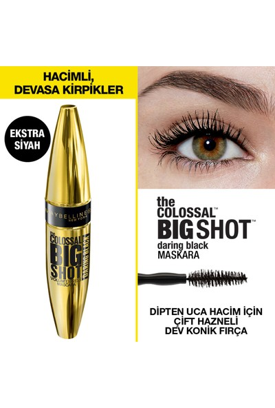 Maybelline New York The Colossal Big Shot Daring Black Maskara - Ekstra Siyah