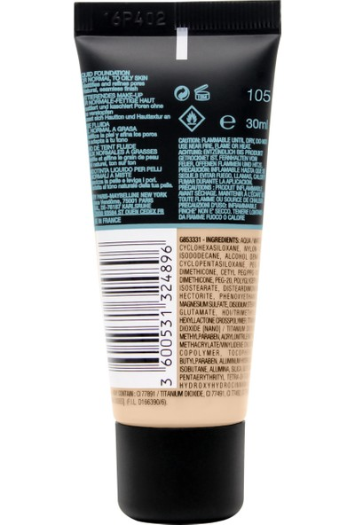 Maybelline New York Fit Me Matte+Poreless Fondöten - 105 Natural Ivory