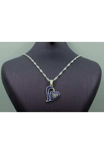 Aykat Kalpli Gümüş Kolye Ucu Mavi Taşlı Bayan Boyunluk Model Kadın Uc-129