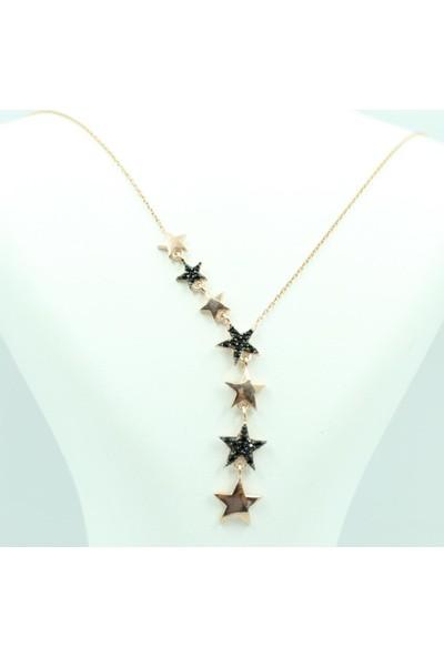 Aykat Yıldızlı Rozlu Gümüş Bayan Kolyesi Siyah Taşlı Kolye Model Kadın Uc-101